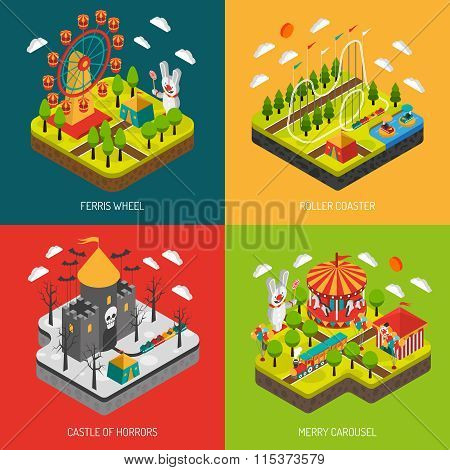 Attraction Park 4 Isometric Icons Square