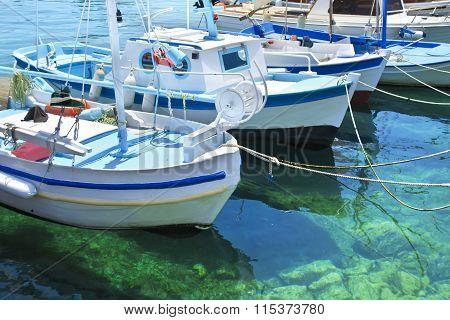 fishing boats in Aegean sea Greece