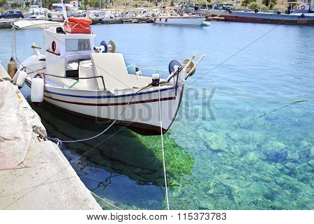 greek Aegean sea with fishing boats