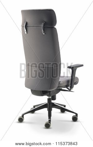 Executive Office Chair Gray Fabric Back View