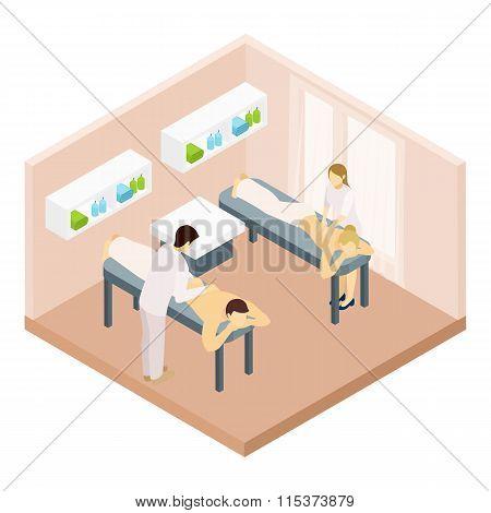Massage Room Isometric Illustration