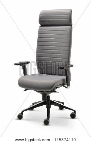 Executive Office Chair Gray Fabric Front View