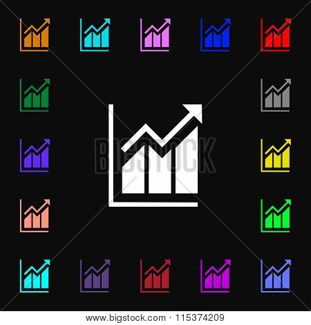 Growing Bar Chart Icon Sign. Lots Of Colorful Symbols For Your Design.