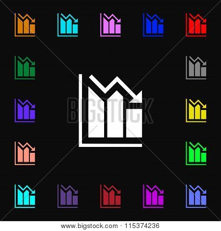 Histogram Icon Sign. Lots Of Colorful Symbols For Your Design.