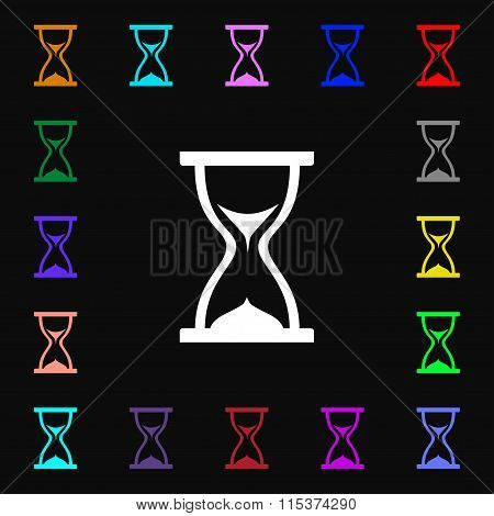 Hourglass Icon Sign. Lots Of Colorful Symbols For Your Design.