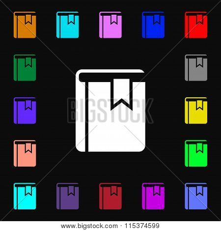Book Bookmark Icon Sign. Lots Of Colorful Symbols For Your Design.