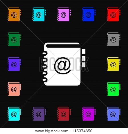 Notebook, Address, Phone Book Icon Sign. Lots Of Colorful Symbols For Your Design.
