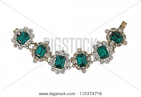 green necklace isolated on white background