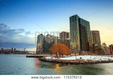 The Buildings Of Long Island In Front Of East River