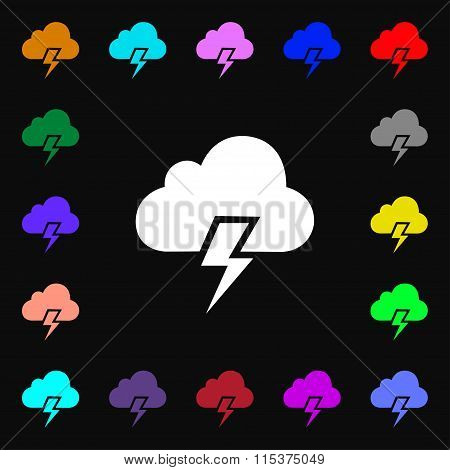 Heavy Thunderstorm Icon Sign. Lots Of Colorful Symbols For Your Design.