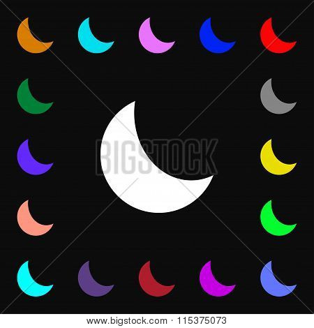 Moon Icon Sign. Lots Of Colorful Symbols For Your Design.