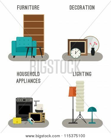 Furniture and home accessories icons.