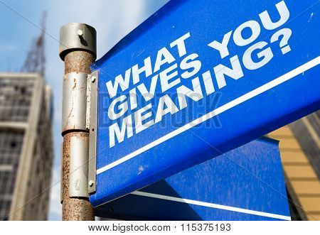 What Gives You Meaning? written on road sign