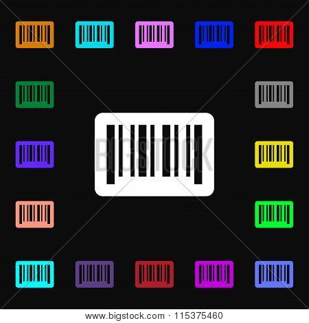 Barcode Icon Sign. Lots Of Colorful Symbols For Your Design.