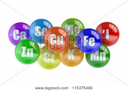 Healthy Life Concept, Set Of Mineral Elements