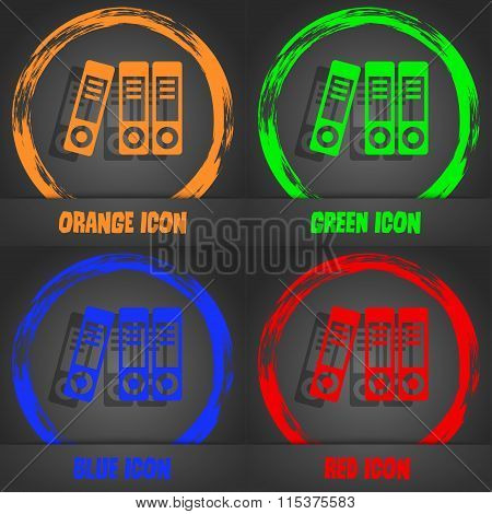 Binders  Icon. Fashionable Modern Style. In The Orange, Green, Blue, Red Design.