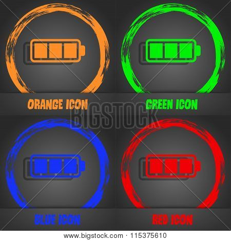 Battery Fully Charged Icon. Fashionable Modern Style. In The Orange, Green, Blue, Red Design.
