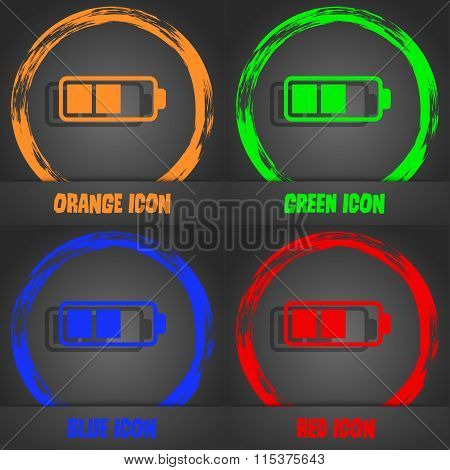 Battery Half Icon. Fashionable Modern Style. In The Orange, Green, Blue, Red Design.