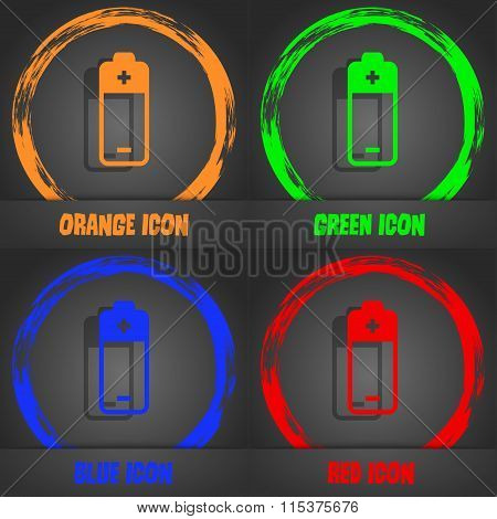 Battery Icon. Fashionable Modern Style. In The Orange, Green, Blue, Red Design.