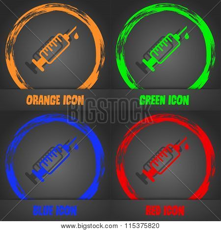 Syringe Icon. Fashionable Modern Style. In The Orange, Green, Blue, Red Design.