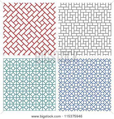 Seamless Mesh Line Pattern In Korean Style