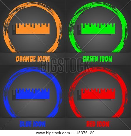 Ruler Icon. Fashionable Modern Style. In The Orange, Green, Blue, Red Design.