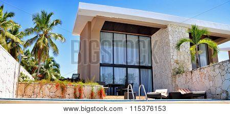 Punta Cana Dominican Republic - March 20 2010: Territory of Hotel Catalonia Royal Bavaro in Punta Cana villa