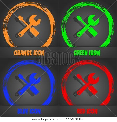 Wrench And Screwdriver Icon. Fashionable Modern Style. In The Orange, Green, Blue, Red Design.