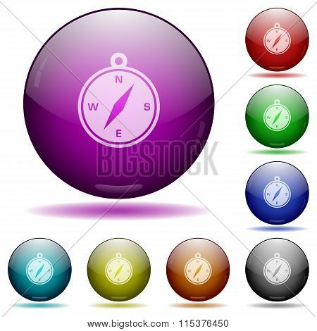 Compass Glass Sphere Buttons