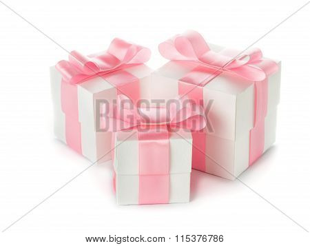 Gift white box with pink satin ribbon