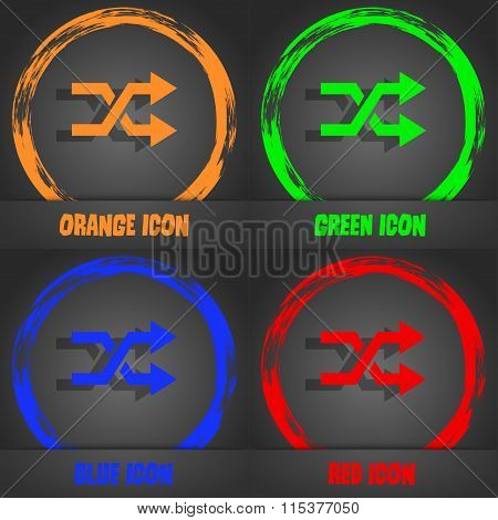 Shuffle Icon. Fashionable Modern Style. In The Orange, Green, Blue, Red Design.