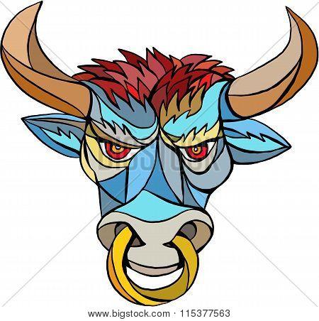 Angry Bull Head Mosaic