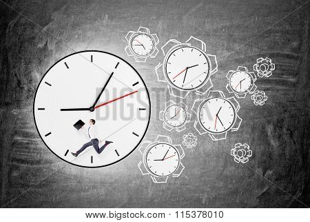 Man Running Forward Round O'clock