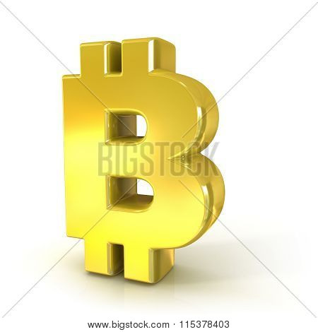 Bitcoin 3D golden sign