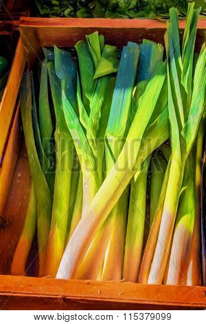 Leeks in a wooden box, painted style