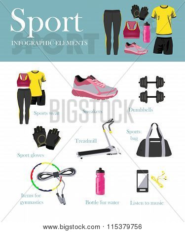 Fitness isolated icons set and banner. Sport equipment and accessories. Training concept vector illu