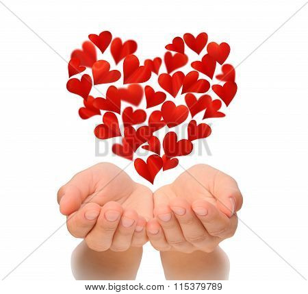 Hearts in heart shape flying over cupped hands of young woman, birthday card, love concept, Valentin