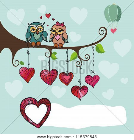 Owl couple sitting on a branch with hearts
