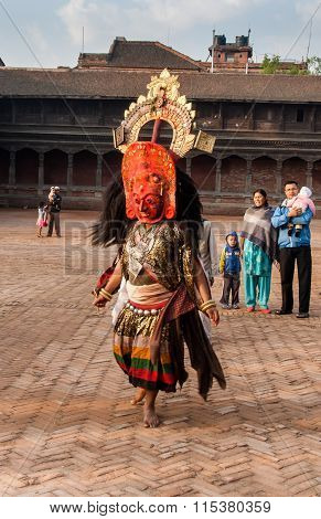 Unidentified Lama Perform A Ritual Dance Called Bhairav Dance