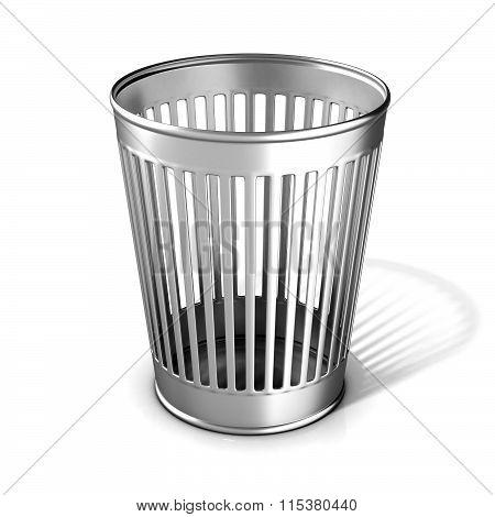 Empty metal trash bin
