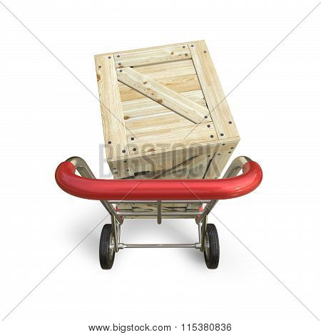 Hand truck with wooden box. Delivery concept. Top view. 3D