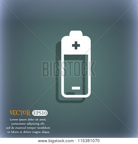 Battery Icon. On The Blue-green Abstract Background With Shadow And Space For Your Text.