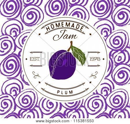 Jam Label Design Template. For Plum Dessert Product With Hand Drawn Sketched Fruit And Background. D