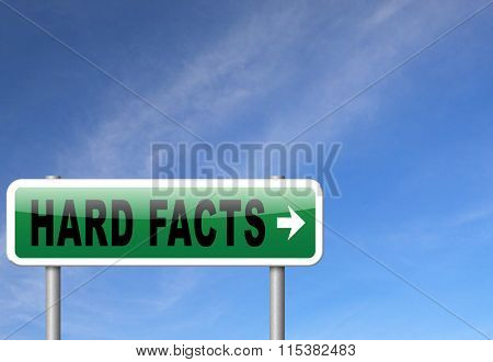 hard facts or proof, scientific proven fact, road sign billboard.