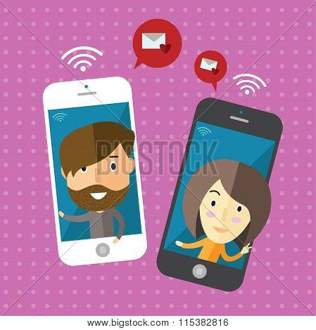 communication(telephone)sent message with girlfriend