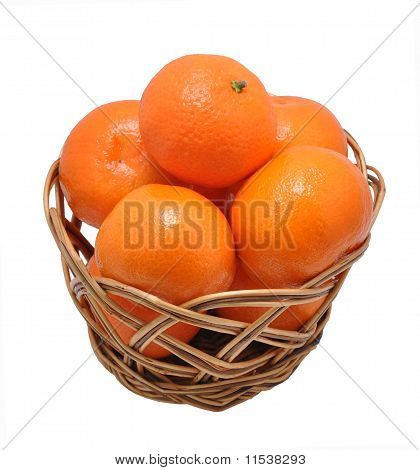 Mandarines In A Basket On A White Background
