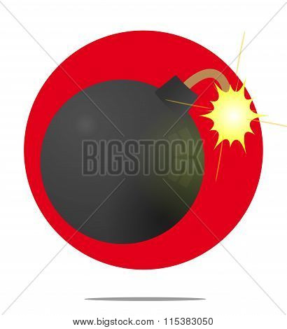Illustration Of A Bomb With Red Circle Background