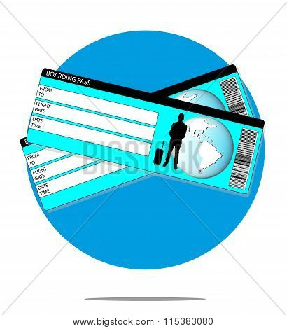 Illustration With Boarding Pass With Blue Circle Background