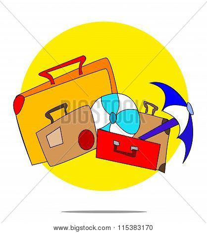 Illustration Of A Set Of Suitcases With Yellow Circle Background
