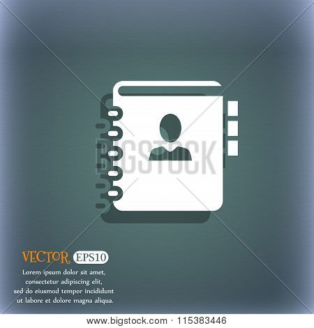 Notebook, Address, Phone Book Icon. On The Blue-green Abstract Background With Shadow And Space